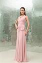 A-Line Pearl Pink Pleated Chiffon Halter Floor-Length Bridesmaid Dress