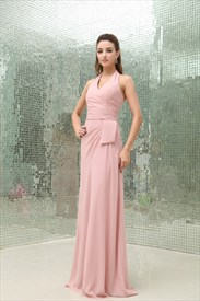 A-Line Pearl Pink Pleated Chiffon Halter Floor-Length Bridesmaid Dress