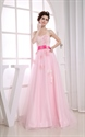 Impressive Pink Soft Net Appliques Sweetheart A-Line Prom Dresses 2021