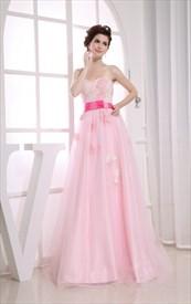 Impressive Pink Soft Net Appliques Sweetheart A-Line Prom Dresses 2019