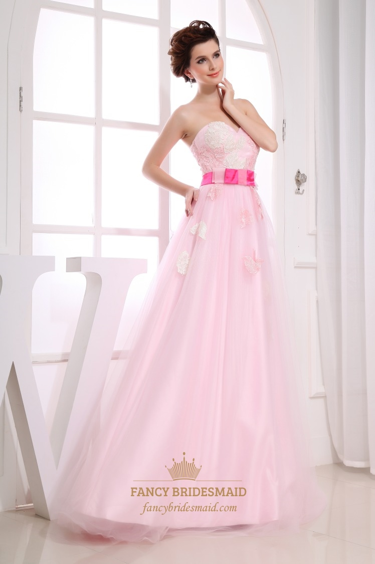 Impressive Pink Soft Net Appliques Sweetheart A-Line Prom Dresses ...