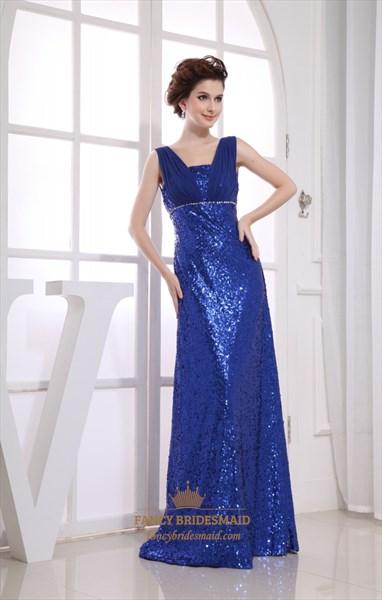 Royal Blue Sequin V Neck Chiffon Empire Waist Floor Length Prom Dress