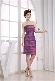 Cute Purple Strapless Sheath Taffeta Tiered Knee-Length Cocktail Dress