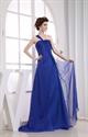 One Shoulder Chiffon Royal Blue Empire Waist Full Length Formal Dress