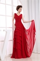 Red Chiffon V-Neck A-Line Layered Long Mother Of The Bride Dresses