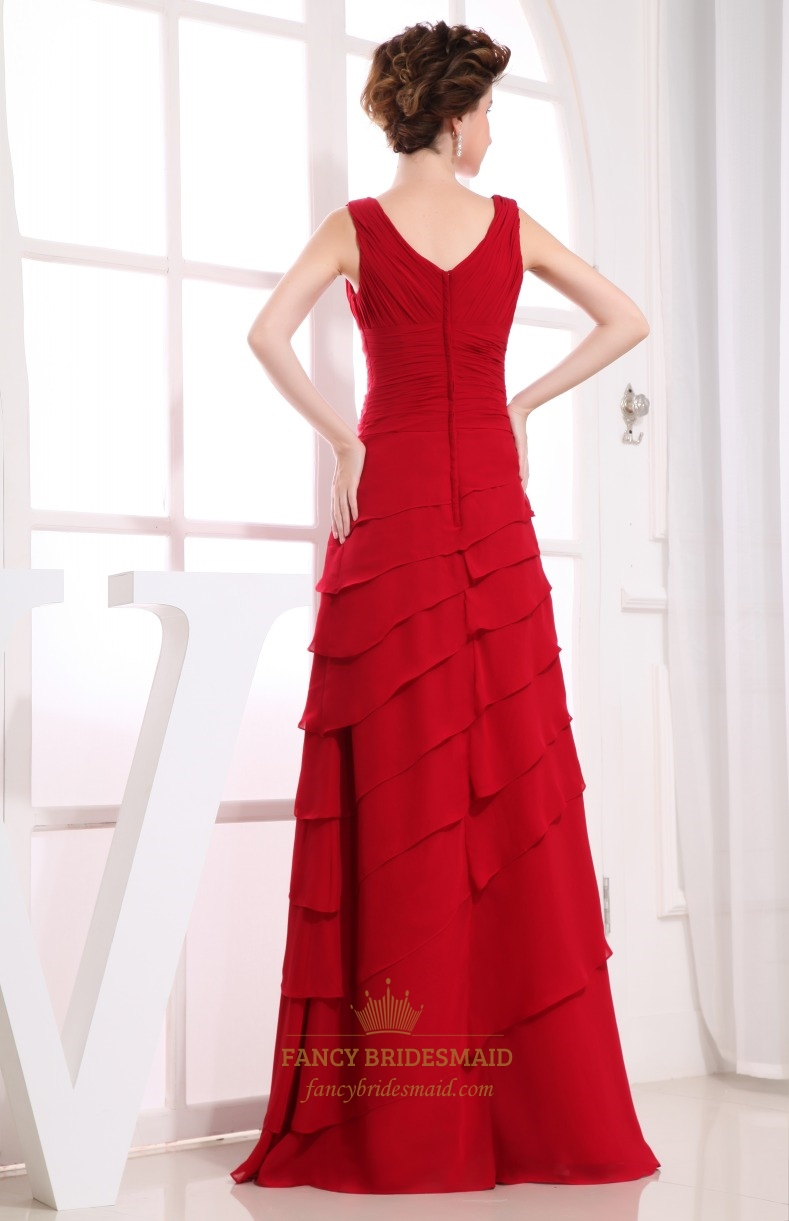 Red dress a line layered