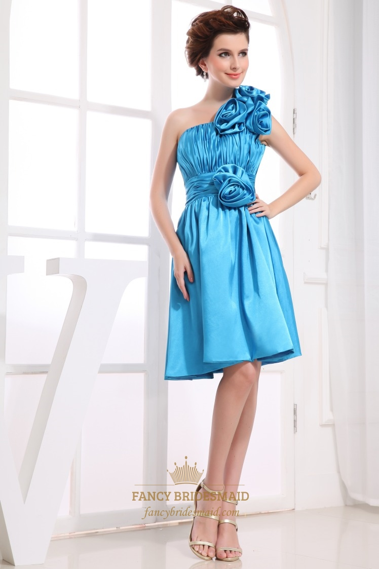Aqua Blue One Shoulder Handmade Flowers Knee Length Bridesmaid Dresses
