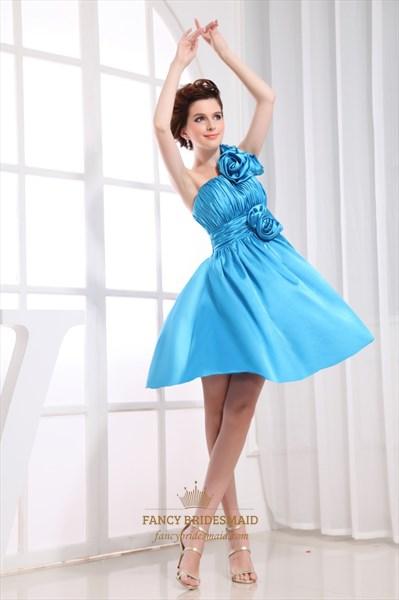 Aqua Blue One Shoulder Handmade Flowers Knee Length Bridesmaid Dresses