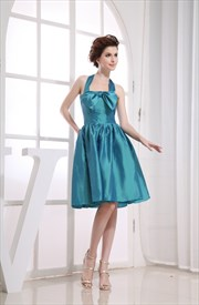 Simple Teal Knee-Length Taffeta A-Line Halter Cocktail Dress With Bow