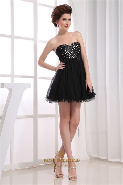 Strapless Sweetheart Beading A-Line Mini Little Black Homecoming Dress