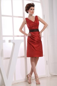 Dazzling Burgundy Knee-Length Taffeta V-Neck A-Line Bridesmaid Dresses