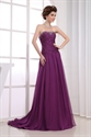 Concise Plum Strapless Sweep Train Beading Chiffon Long Evening Dress