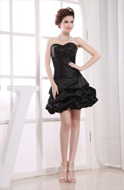 Black Sequined Sweetheart Lace Up Bubble Cocktail Dresses With Pick-Up