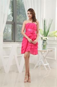 Grace Watermelon Strapless A-Line Layered Chiffon Short Cocktail Dress