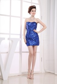 Sequined Short Prom Dresses, Royal Blue Sequin Party Dress