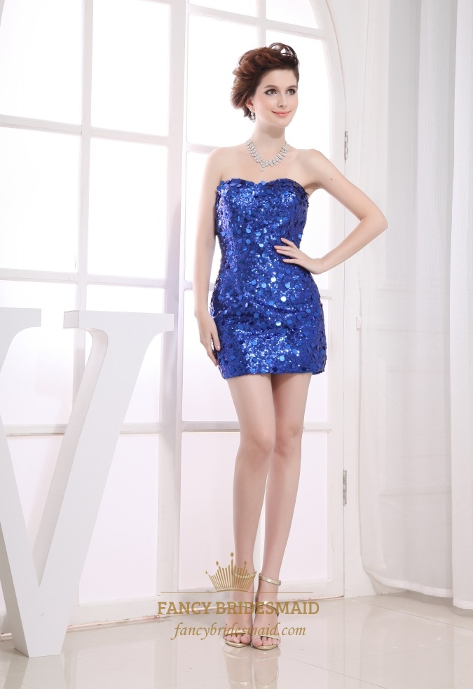 Sequined Short Prom Dresses Royal Blue Sequin Party Dress