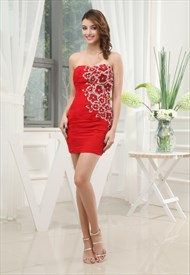 Short Red Chiffon Prom Dress, Strapless Ruched Cationic Chiffon Dress