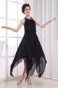 Black Chiffon Halter Cocktail Dress, Black Halter Asymmetrical Dress