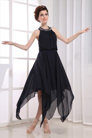 Black Chiffon Halter Cocktail Dress, Black Halter Asymmetrical Dress