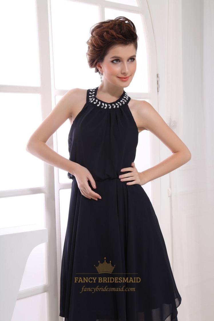 Black Chiffon Halter Cocktail Dress Black Halter