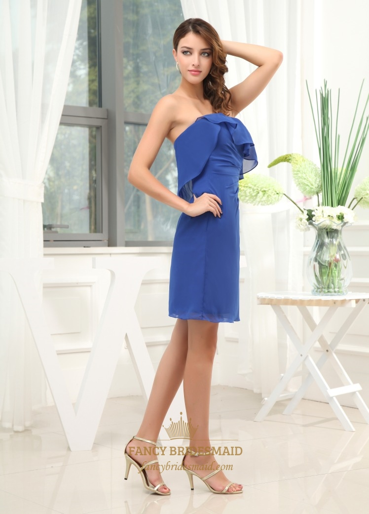 Strapless Ruffle Cocktail Dress Strapless Royal Blue