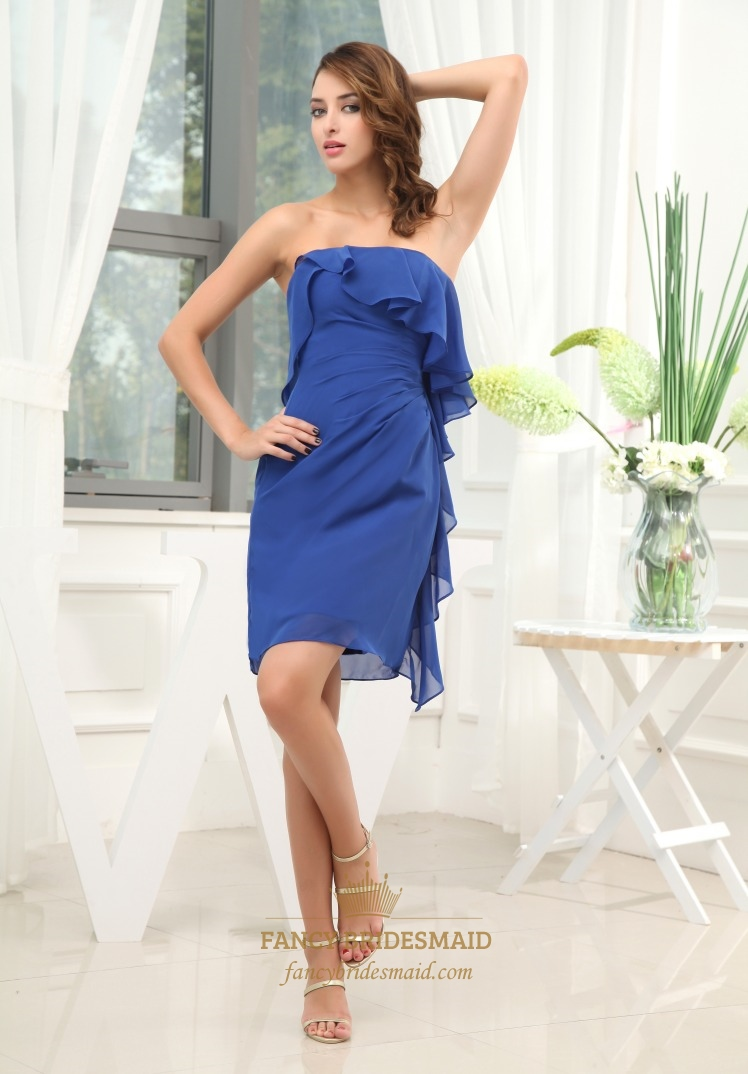 Strapless Ruffle Cocktail Dress, Strapless Royal Blue ...