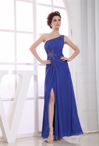 Sheath/Column One-Shoulder Floor-Length Chiffon Beaded Evening Dress