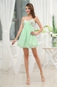 Sequin Bandeau Dress With Chiffon Skirt, Short Green Homecoming Dress