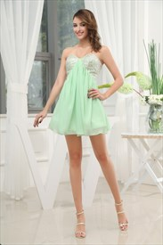 Sequin Bandeau Dress With Chiffon Skirt, Short Green Homecoming Dress