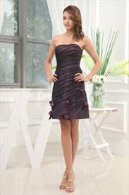 Black And Purple Cocktail Dresses, Strapless Ruched Cocktail Dress
