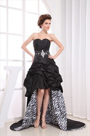 Black Strapless Sweetheart High Low Dress, High Low Gowns For Prom