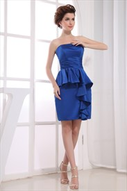 Short Strapless Satin Peplum Dress,Royal Blue Strapless Cocktail Dress