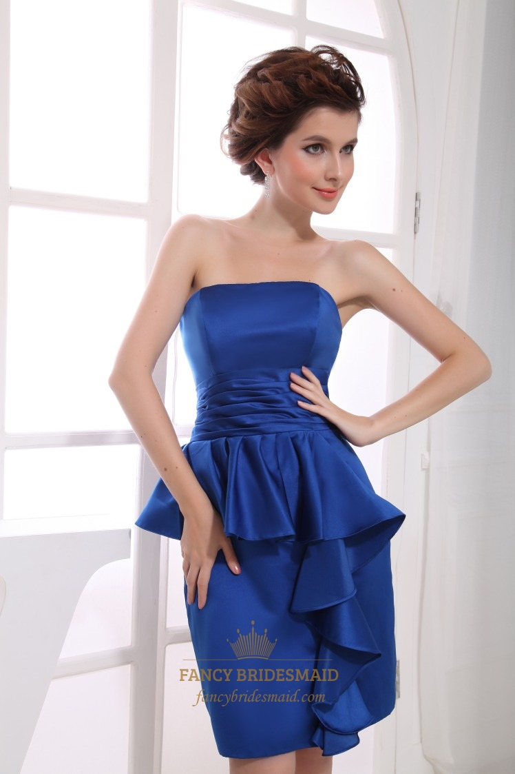 Short strapless satin peplum dressroyal blue strapless cocktail short strapless satin peplum dressroyal blue strapless cocktail dress ombrellifo Gallery