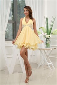 Beaded Empire Waist Chiffon Dress, Yellow Halter Cocktail Dress