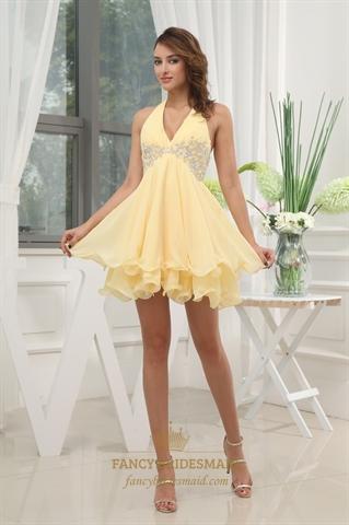 Beaded empire waist chiffon dress yellow halter cocktail for Halter empire waist wedding dresses