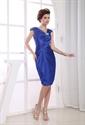 Royal Blue Short Prom Dresses 2021, Pleated Knee Length Cocktail Dress