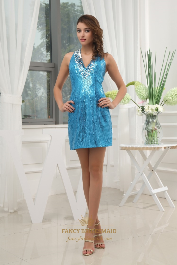 V Neck Sequin Cocktail Dress, Short Sequin Dress With Open Back ...