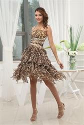 Leopard Print One Shoulder Chiffon Dress,Ruffle Chiffon Cocktail Dress
