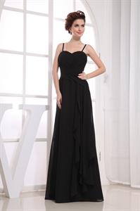 Long Black Chiffon Bridesmaid Dresses, Pleated Chiffon Bridesmaid Dress