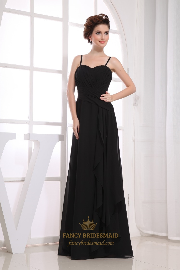 Long Black Chiffon Bridesmaid Dresses, Pleated Chiffon Bridesmaid ...