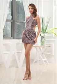 Pink Leopard One Shoulder Dress, Short One Shoulder Side Cut Out Dress