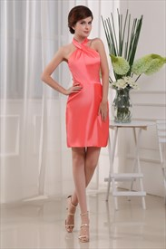 Coral Halter Top Dresses, Coral Taffeta Bridesmaid Dresses