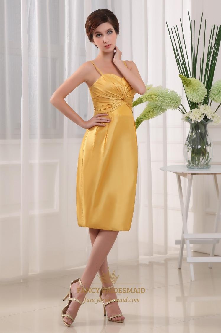 Knee Length Yellow Bridesmaid Dress, Pleated Taffeta Tube Dress