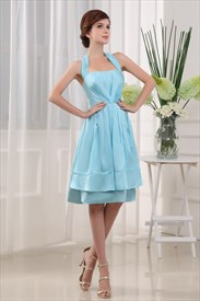 Light Blue Knee Length Prom Dress, Halter Knee Length Bridesmaid Dress