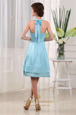 Light Blue Knee Length Prom Dress Halter Knee Length