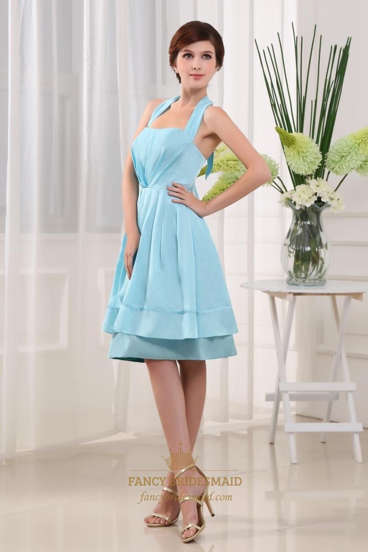 Light Blue Knee Length Prom Dress, Halter Knee Length Bridesmaid ...