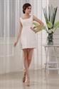 Ivory Taffeta Beaded Bust Square Neck Short Prom Dress Cocktail Dress