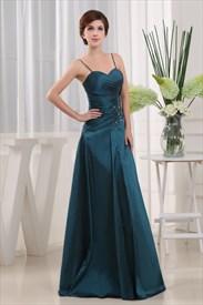 Dark Teal Green Bridesmaid Dresses, A Line Taffeta Bridesmaid Dresses