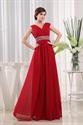 Chiffon Gown With Beaded Waist, V-Neck Floor Length Chiffon Prom Dress