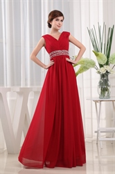 Chiffon Gown With Beaded Waist, V-Neck Floor Length Chiffon Prom Dress